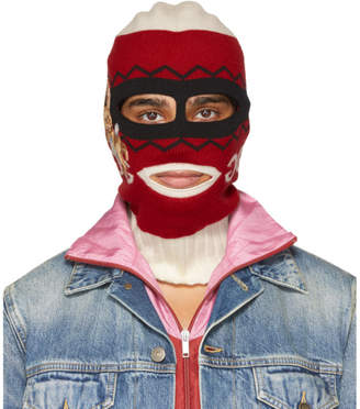 Gucci Red and White Peru Rabbit Full Balaclava