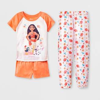 Disney Girls' Moana 3pc Pajama Set - Orange