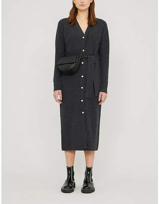 Sandro Cosy faux-pearl-embellished wool and cashmere-blend midi dress