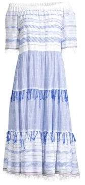 Lemlem Tiki Off-The-Shoulder Tier Midi Dress