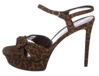 Saint Laurent Leopard Bianca Sandals