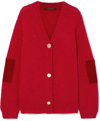 Mother of Pearl Vita Velvet-trimmed Knitted Cardigan - Red