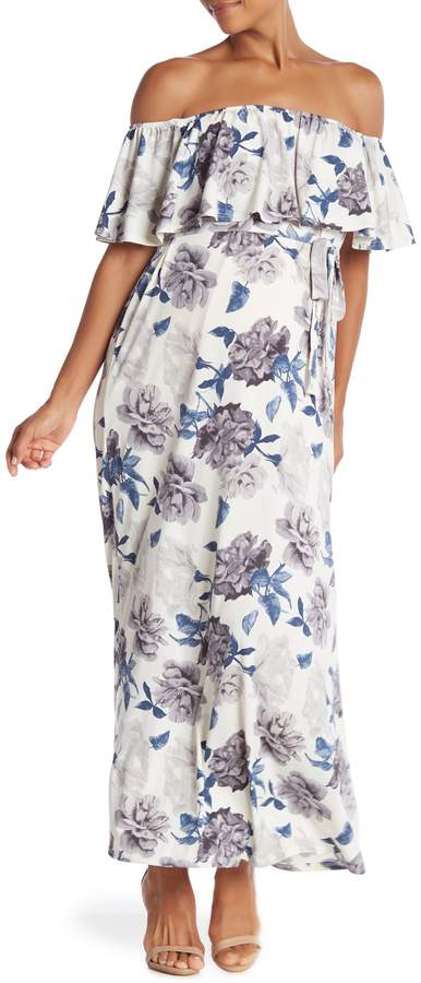 PinkBlush Maternity Floral Off Shoulder Sash Tie Maternity Maxi Dress (Maternity)