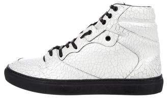 Balenciaga Crackled Leather High-Top Sneakers w/ Tags