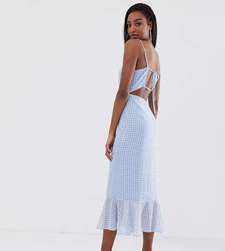 Fashion Union Tall cami midi dress with peplum hem and lace up back in gingham