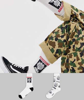 Asos Design DESIGN 2 pack sports socks with rick and morty design save