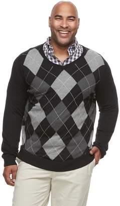 Croft & Barrow Big & Tall Classic-Fit 12GG Argyle V-Neck Sweater