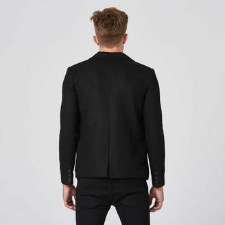 DSTLD Mens Slim Wool Blazer with Leather Collar in Black
