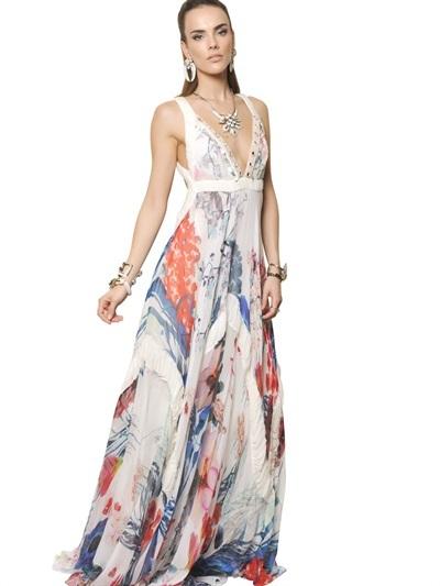 Roberto Cavalli Floral Printed Silk Chiffon Long Dress