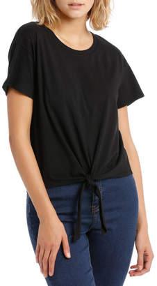 Miss Shop Short Sleeve Tie Front Top