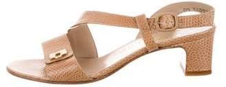 Salvatore Ferragamo Leather Embossed Sandals