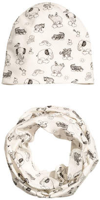 H&M Hat and Tube Scarf - White