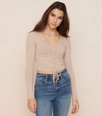 Garage Long Sleeve Ruched Front Tee