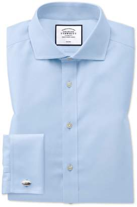 Charles Tyrwhitt Classic Fit Sky Blue Non-Iron Twill Spread Collar Cotton Dress Shirt French Cuff Size 15.5/32