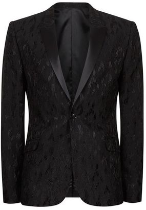 Black Jacquard Ultra Skinny Fit Suit Jacket $300 thestylecure.com