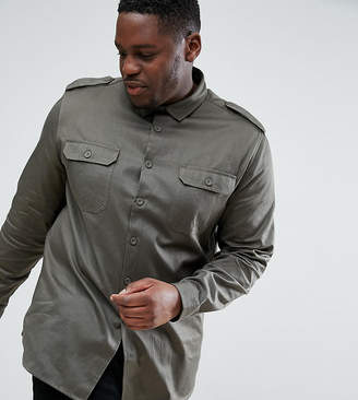 Asos Plus Overshirt In Khaki With Double Pockets