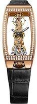 Corum ゴールデンブリッジMiss橋113.102.85 / 0001 0000ダイヤモンド自動ローズゴールドケースブラックレザー反射防止サファイアWomen 's Watch