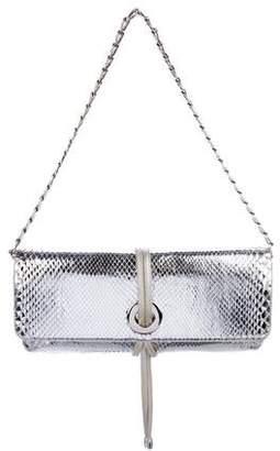 Rodo Snakeskin Metallic Clutch