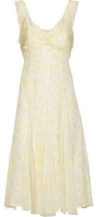 Jamie Twist-Front Floral-Print Silk Crepe De Chine Dress