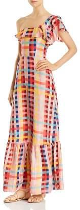 Carolina K. Una One-Shoulder Printed-Silk Maxi Dress