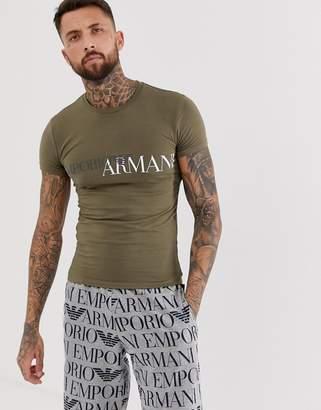 Emporio Armani slim fit logo lounge t-shirt in khaki
