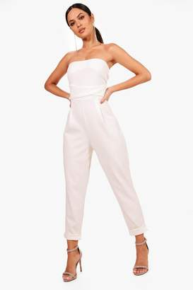 boohoo Bandeau Tailored Woven Slim Fit Jumpsuit