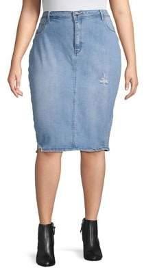 45fcc0dc95 Anthony Logistics For Men LA LA Plus Distressed Denim Pencil Skirt