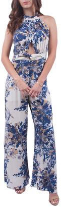En Creme Blue Floral Jumpsuit $62 thestylecure.com