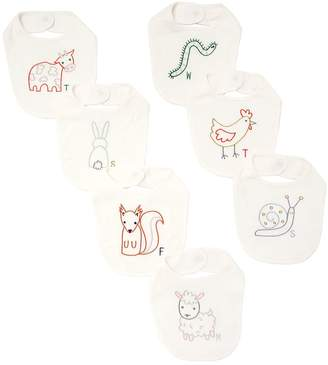 Stella McCartney Set Of 7 Embroidered Cotton Jersey Bibs