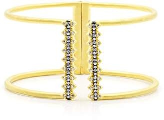 Freida Rothman 14K Yellow Gold Plated Sterling Silver Indigo Armour Pave CZ Open Cuff Bracelet