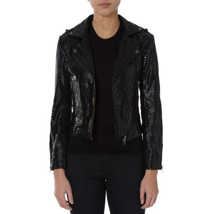 Black Snake Print Leather Biker Jacket
