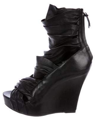 Givenchy Multi-Strap Leather Wedge Booties