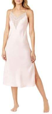 Halston H Satin Charmeuse and Lace Long Nightgown