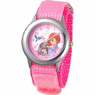 Disney Sofia the First Girls' Stainless Steel Watch, Pink Strap