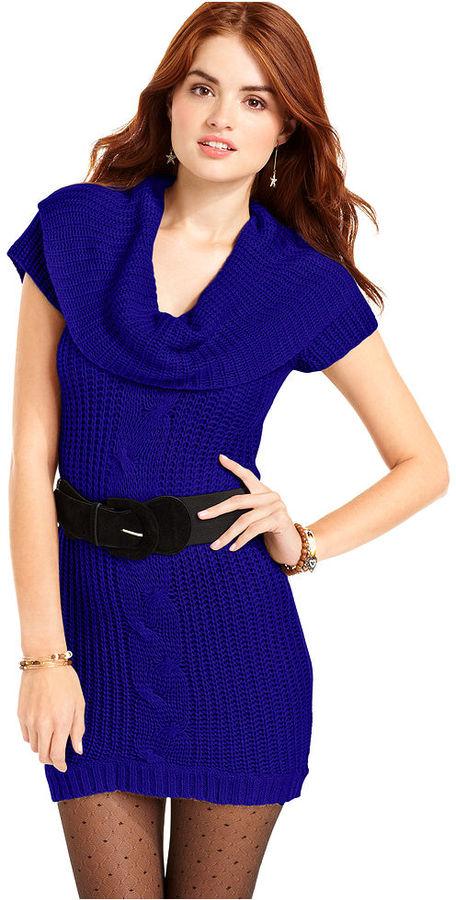 Planet Gold Juniors Dress, Short Sleeve Cowl Neck Sweater Dress