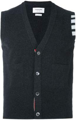 Thom Browne V-Neck Cardigan Vest In Cashmere