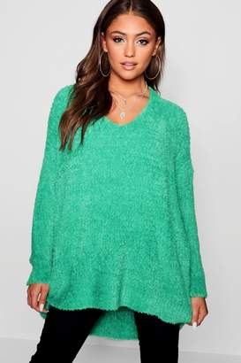 boohoo Oversized V-Neck Feather Knit Jumper