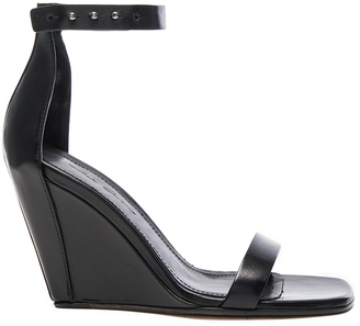 Rick Owens Strappy Leather Wedges $1,276 thestylecure.com