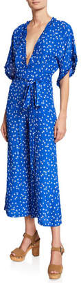 Faithfull The Brand La Villa V-Neck Short-Sleeve Floral-Print Jumpsuit w/ Self-Tie Belt