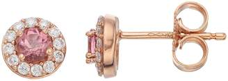 Lauren Conrad 10k Rose Gold Pink Tourmaline & 1/10 Carat T.W. Diamond Halo Stud Earrings
