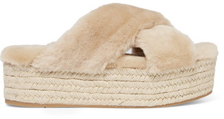Miu Miu - Shearling Espadrille Platform Sandals - Beige $590 thestylecure.com