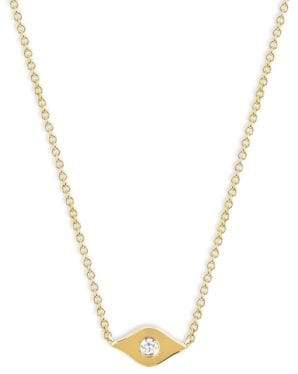 Ef Collection 14K Yellow Gold& Diamond Evil Eye Choker