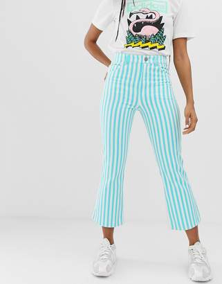 Asos Design DESIGN Egerton rigid crop kick flare jeans in printed turquoise stripe