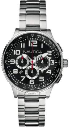 Nautica Unisex Quartz Watch with Black Dial Chronograph Display and Silver Stainless Steel Bracelet A25521M