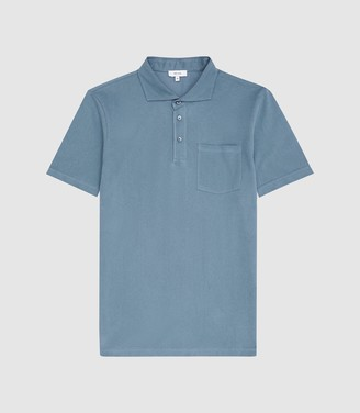 Reiss Beckton - Textured Polo Shirt in Blue