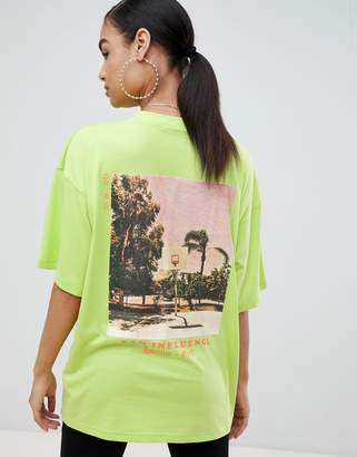 Missguided oversized t-shirt with graphic print in neon green