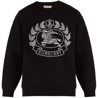 Burberry Crest Jacquard Sweatshirt - Mens - Black