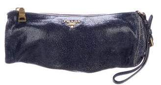 Prada Craquele Leather Wristlet
