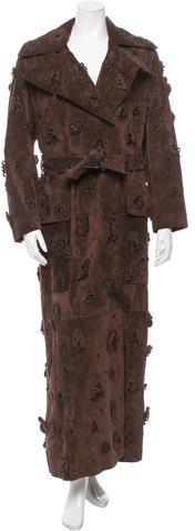 pradaPrada Floral Suede Long Coat