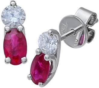 Naava Women's 18 ct White Gold Stud Earrrings Ruby and Diamond Stones